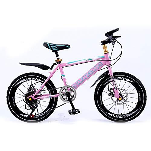 LISI Bicicletta per Bambini 18/20 Pollici Mountain Bike Freno a Disco smorzamento Singola velocità Bambini Bicicletta 5 Colori Opzionale,Pink,18'