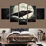 SUKOKOLA Cuadros de Lienzo modulares Impresos en HD 5 Piezas pájaro Rojo Ojos y Luna Escena Nocturna Cartel Sala de Estar decoración de Pared Pintura artística