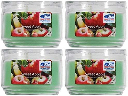 Mainstays 11.5oz Scented Candle 4-Pack Gorgeous Apple Complete Free Shipping Sweet