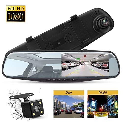 Cámara de visión trasera y grabadora de espejo DVR para coche con doble lente...