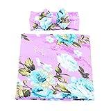 Galabloomer Newborn Receiving Blanket Headband Set Flower Print Baby Swaddle Receiving Blankets (Purple)