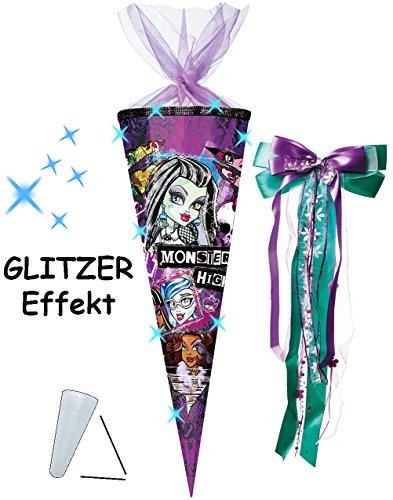 alles-meine.de GmbH mit 3-D Glitzer Effekt ! - Schultüte -  Monster High - Schaurig schräg  - 85 cm / 12 eckig - incl. große Schleife - Organza Abschluß - Zuckertüte - mit / oh..