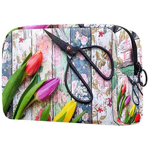 Kosmetiktasche für Make-up-Pinsel, tragbar, für Damen, Handtasche, Reisetasche, Retro-Stil, Tulpenmotiv, Schere
