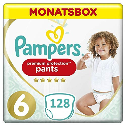 Pampers Premium Protection (128 Pants) Gr. 6 15kg+, Monatsbox Giga Pack