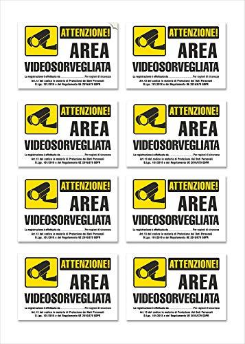 8 Adesivi Videosorveglianza Piccoli in PVC morbido -Cartelli Area Videosorvegliata, Impermeabili, in Italiano, misura piccola: 15 x 10 cm - 8 pz.