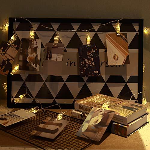 Clip Cadena de Luces LED 3 Metros 20 LED Fotoclips Guirnalda de Luces para Colgar Fotos, Notas, Memos Ideal para Decoración de Hogar, Pared, Navidad, Fiesta, Boda (Blanco Cálido)