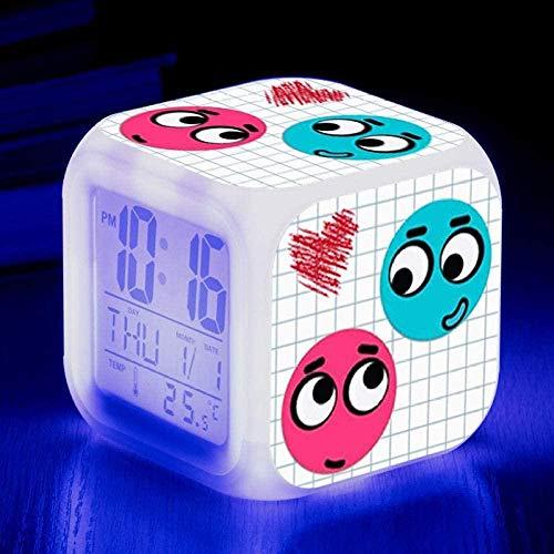 BZL POP Reloj Despertador Animado LED 7 Colores cambiantes Luz Nocturna para niños Reloj Despertador Digital de Juguete Multifuncional Adecuado para Regalos de cumpleaños Familiares