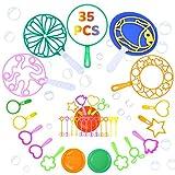 colmanda Pompas de Jabón para Niños, 35 Piezas Varitas de Burbujas Kit de Juguetes Pompas De Jabón Verano Máquina de Burbujas Juego para Fiesta de Cumpleaños, Aire Libre Jardín