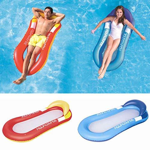 Sillón de natación Playa de natación portátil Piscina de Verano Inflable a Media Red PVC Hamaca de Fila Flotante Plegable de Agua