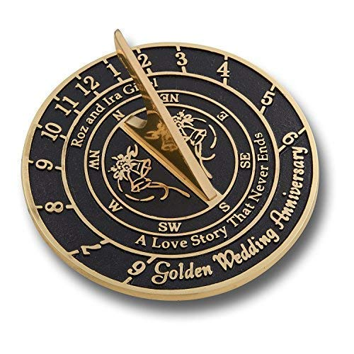 """Personalized 50th Anniversary Sundial """"A Love Story That Never Ends"""""""