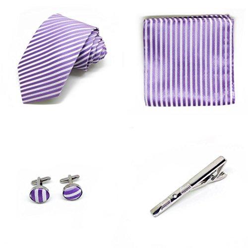S.R HOME Coffret Cadeau Ensemble Cravate homme, Mouchoir de poche, épingle et boutons de manchette Rayures Violettes et Argentées