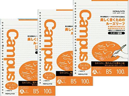 3 x Kokuyo Campus lose Blätter Papier – vorgepunktetes glattes Papier, B5, 26 Löcher, 7 mm Lineal, 31 Linien x 100 Blatt, 200 Seiten x 3er-Pack