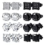 FIBO STEEL 4-8 Pairs Stainless Steel Stud Earrings for Men Women Square CZ Earrings,6-8MM (g: 7mm)