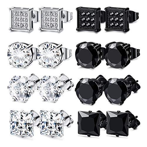 FIBO STEEL 8 Pairs Stainless Steel Stud Earrings for Men Women Square Round CZ Stud Earrings Set Ear Jewelry 6MM