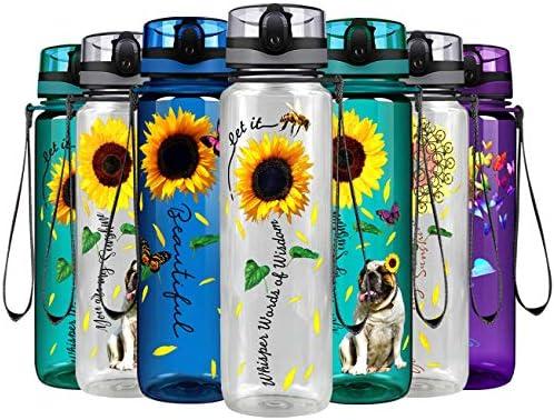 Whisper Words of Wisdom Sunflower on 32 oz 1 Liter Motivational Tracking Sport Water Bottle product image