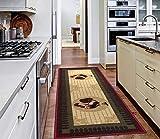 Ottomanson Runner Rug, 20'X59', Beige Kitchen Rooster