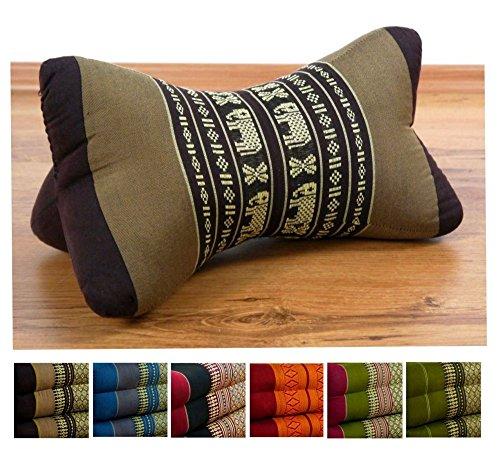 livasia Nackenkissen der Marke, Nackenrolle aus Kapok, asiatisches Nackenstützkissen (Knochenkissen) BZW. kleine Nackenrolle, (braun/Elefanten)
