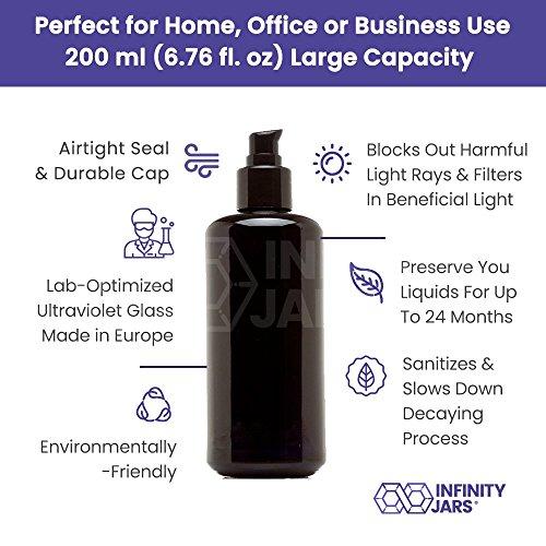 Infinity Jars 200 Ml (6.8 fl oz) Black Ultraviolet Glass Push Pump Bottle