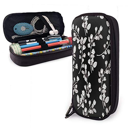 XCNGG Pattern with Graphical Roses On Black Background Pu Leather Pencil Case with Zipper Closure Big Capacity Carrying Case for School Office