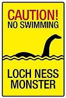 No Swimming Loch Ness Monster 注意看板メタル安全標識注意マー表示パネル金属板のブリキ看板情報サイントイレ公共場所駐車ペット誕生日新年クリスマスパーティーギフト