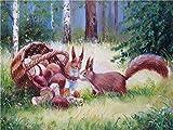 dxycfa Pintura por números para adultos Ardilla recogiendo setas Lienzo de bricolaje Pintura al óleo Pintura artística con pinceles y pinturas acrílicas Regalos creativos - 40x50cm (Sin marco)