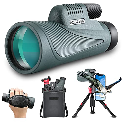 12x56 HD Monocular Telescope with Smartphone Adapter, Upgraded Tripod, Hand Strap - High Power Monocular with Clear Low Light Vision for Star Watching - Lightweight Monocular for Bird Watching Hunting