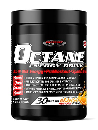 OCTANE ENERGY DRINK - ORANGE - ALL-IN-ONE Healthy Energy, Sports & Pre-Workout! SUGAR FREE, 39 Ingredients! 30 Drinks @ $1.99 a drink