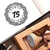 Sellos Personalizados Hojas de Roble Corona Nombre Inicial Caja de Regalo Papel Marrón Kraft Para el Presente