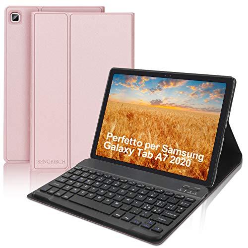 SENGBIRCH - Teclado con funda para Samsung Galaxy Tab A7 2020 10,4 pulgadas (SM-T505/T500/T507), teclado italiano Bluetooth con ligero funda protectora Smart Cover con auto despertador/sueño, oro rosa