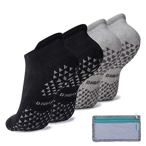 Hylaea Calcetines Antideslizantes con Suela de Goma para Pilates, Yoga, hogar, diabéticos | algodón, Tobillo, Negro, Gris, Paquete de 2, Mujeres y Hombres