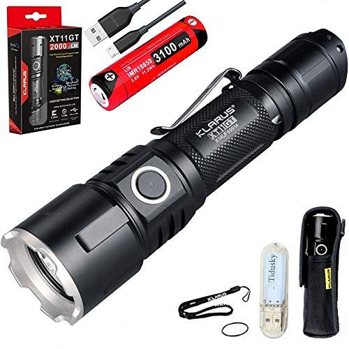 Klarus XT11GT Linterna Táctica 2000 Lumens 316 metros LED Linterna LED Recarga Poderoso para Policía y actividad Militar, 18650 batería + Tidusky USB luz ⭐