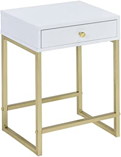 Acme Furniture Acme 82298 Coleen Side Table, White & Brass