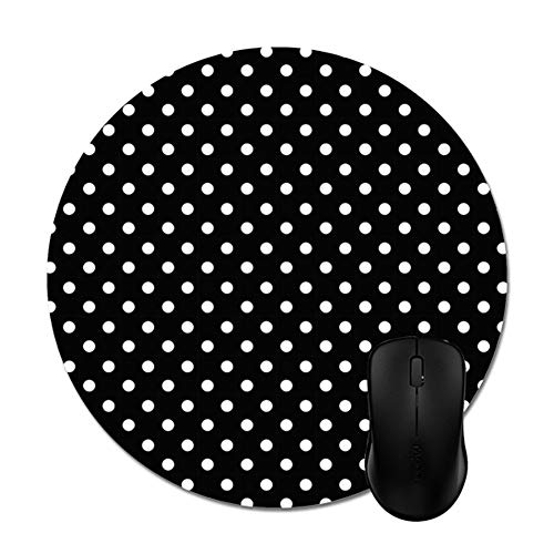 """Smity 106 Black and White Polka Dot Mouse Pads Trendy Office Desktop Accessory Round 8"""""""