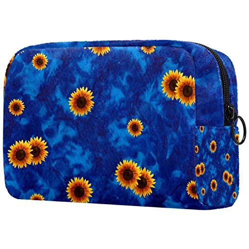 Cosmetic Bag 7.3x3x5.1in Sunflowers in Dark Blue Background Toiletry Bag Brush Pouch Organizers Toiletry Wash Bag PVC Makeup Bag Pouch Purse Coin Bag