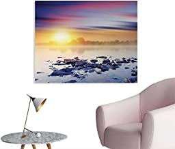 Tudouhoho Landscape Art Poster Magic Summer Sunset in The River with Northern Lights in The Sky Rocks Universe Art Stickers Multicolor W48 xL32