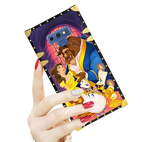 DISNEY COLLECTION Luxury Samsung Note 9 Case Square Cover Beauty and The Beast Pattern Design Flexible Soft TPU Reinforced Metal Decoration Corners Shockproof Slim Shell