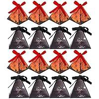 Amosfun 20ピースリボン付きのキャンディーボックスをテーマにした白いミイラカボチャ城ピラミッド型ギフトボックストリートまたはトリックパーティー用ハロウィンパーティー