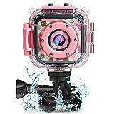 PROGRACE Kids Camera 1080P HD Digital Camera Underwater Waterproof Sports Action Cam Camcorder for Girls Boys Birthday Children First Camera (Pink)