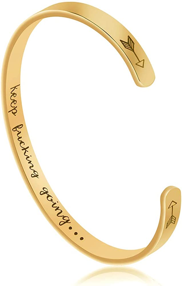 Joycuff Funny Gift for Women Inspirational Bracelet Mantra Cuff Friend Encouragement Jewelry for Daughter Sister Wife Mom Friendship