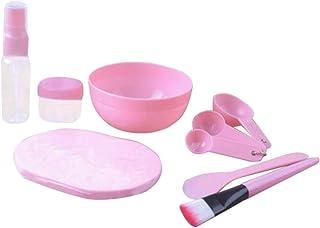 9Pcs/Set Facial Mask Mixing Bowl Set - Professional DIY Spa Face Mask Mixing Tool (Pink)