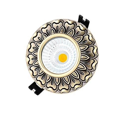 Modenny Europäische Bronzeplatte Downlight Vertiefte Deckenstrahler Retro Vintage Aluminium Blendschutz Decke Dekoration Downlamp mit LED-Treiber (Color : White Light, Größe : 5w)