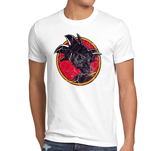 style3 Goku Vintage T-Shirt Homme, Taille:3XL;Couleur:Blanc