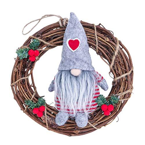 Scopri offerta per VOSAREA Decorazioni Albero di Natale Forma Corone Natalizie con Gnomo Svedese Peluche Decorazioni Natale da Appendere (Grigio)