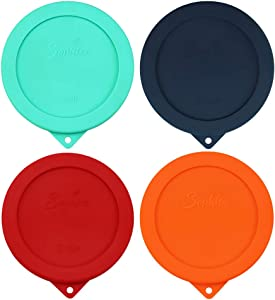 Sophico 2 Cup Round Silicone Storage Cover Lids Replacement for Anchor Hocking and Pyrex 7200-PC Glass Bowls (Container not Included)   Mix   4 Pack