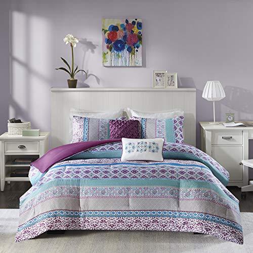 Intelligent Design Cozy Comforter Casual Boho Pieced Design Modern All Season Bedding Set with Matching Sham, Decorative Pillow, Full/Queen, Purple