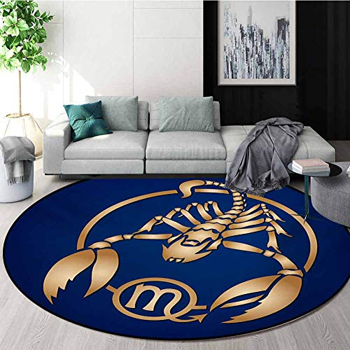 Review RUGSMAT Zodiac Scorpio Modern Machine Washable Round Bath Mat,Horoscope Symbol in A Circular ...