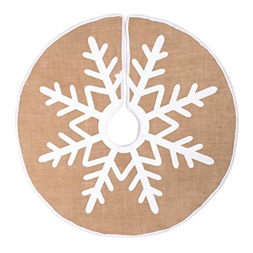 N&T NIETING 120cm Weihnachtsbaum Rock groß Weiße Schneeflocke Gedruckt Sackleinen Weihnachtsbaumteppich Ornamente Dekoration für Weihnachten
