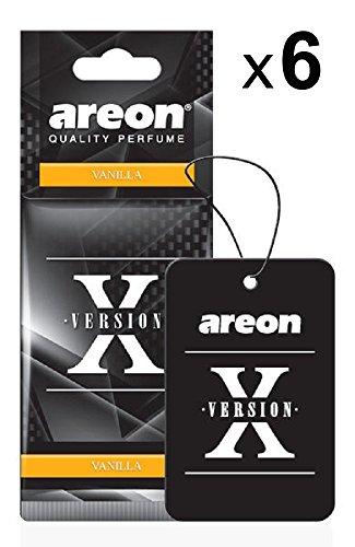Areon X Autoduft Vanille Auto Duft Lufterfrischer Schwarz Hängend Aufhängen Anhänger Parfüm Erfrischer Duftspender Spiegel Pappe 2D Wohnung Büro Set ( Vanilla Pack x 6 )
