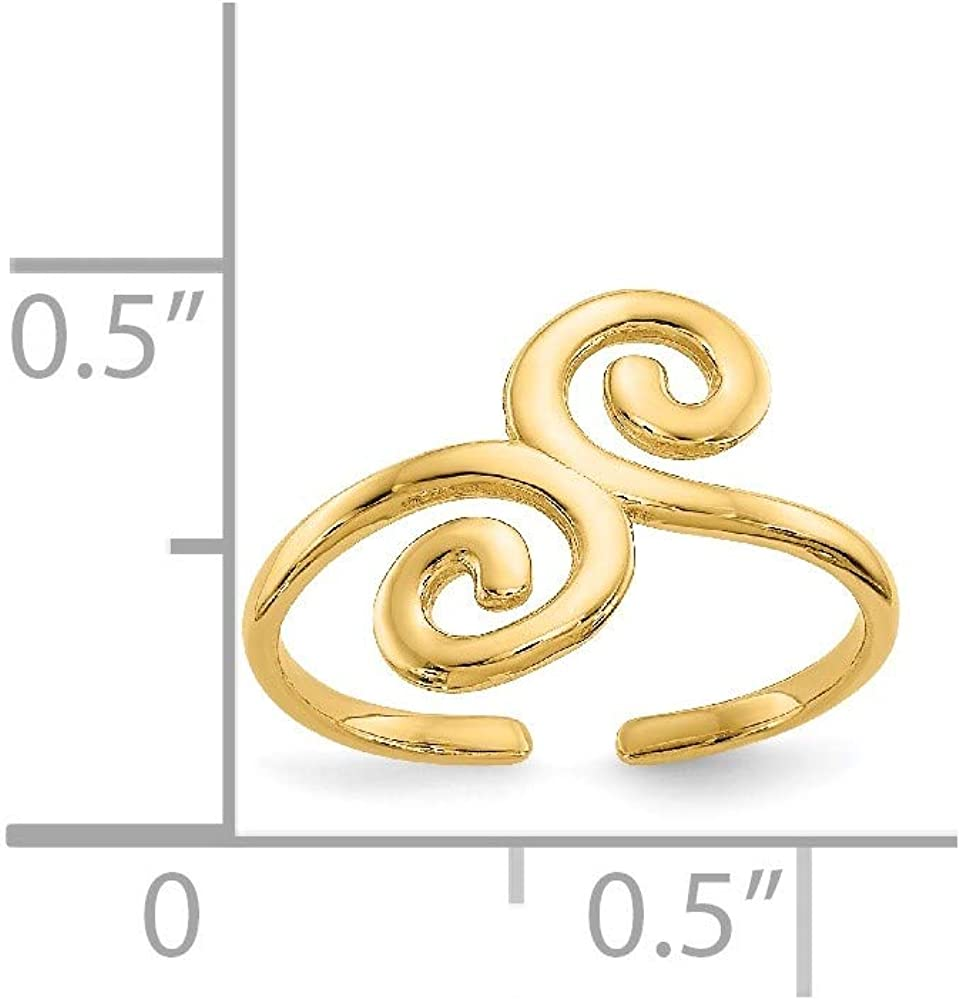 14k Yellow Gold Swirl Adjustable Cute Toe Ring Set Fine Jewelry For Women Gifts For Her