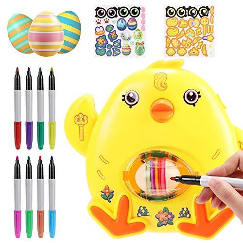Yagerod Kit de decoración de Huevos de Pascua de 12 Piezas, Kit de Pintura de Huevos con 8 marcadores de Secado rápido Coloridos y 3 Huevos de plástico B(no Light Music)